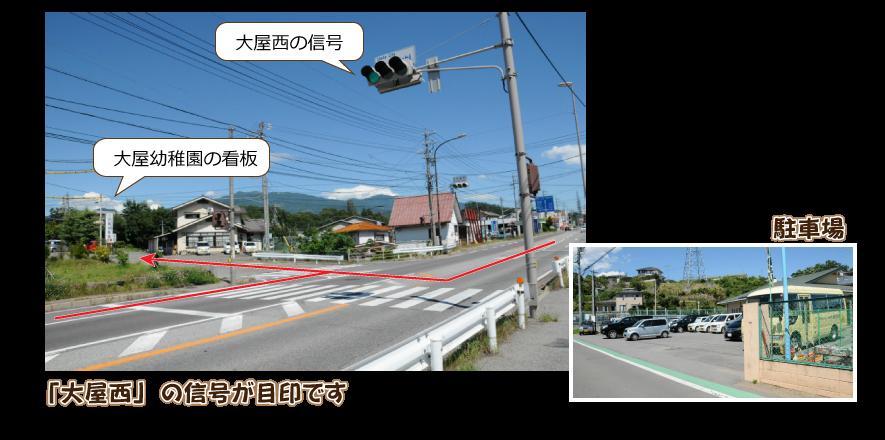 国道18号線「大屋西」の信号を、上田駅方面からは左折、大屋駅・小諸方面からは右折します。交差点から入って350mほど直進すると右手側に大屋幼稚園があります。